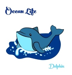 Blue dolphin in the ocean vector image