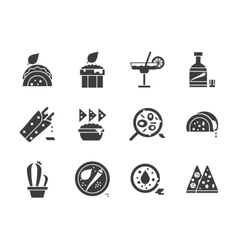 Mexican menu glyph style icons set vector