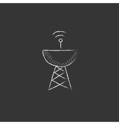 Radar satellite dish drawn in chalk icon vector