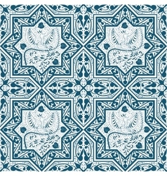 Arabic blue seamless pattern with bird phoenix vector