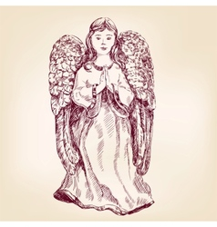 angel hand drawn vector image vector image