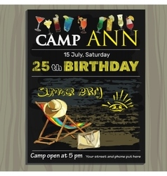 Chalk board invitation for birthday holiday in vector
