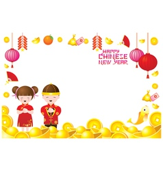 Chinese new year frame with chinese kids vector