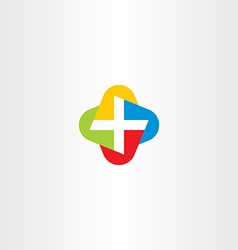 colorful cross medical symbol logo icon vector image vector image