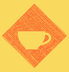 Cup sign red scribble icon obtained as a vector