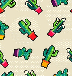 Cute stitching cactus plant icons seamless pattern vector
