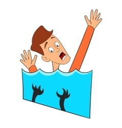 Fear of water icon cartoon style vector