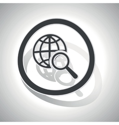 Global search sign sticker curved vector