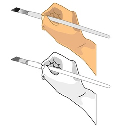 Hand holding a paint brush vector image vector image