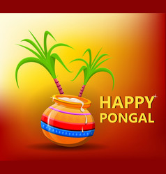 Happy pongal greeting card on beautiful bright vector