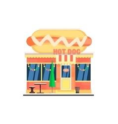 Hot dog cafe front in christmas vector