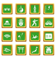 Japan icons set green vector
