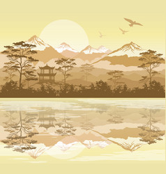 Japanese landscape with forest lake and mountains vector