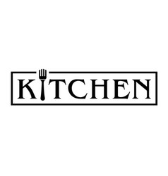 kitchen logo with fork vector image vector image