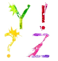 Paint splash font yz and punctuation marks vector