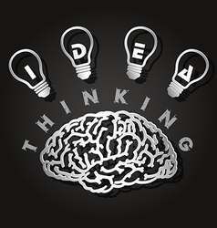 Paper cut of brain and light bulbs vector