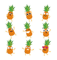 Pineapples - isolated cartoon emoticons vector