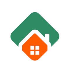 polygonal green orange house logo vector image