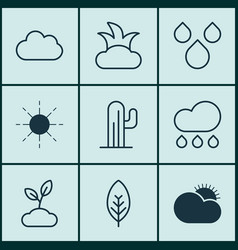 Set of 9 harmony icons includes sun rain bush vector