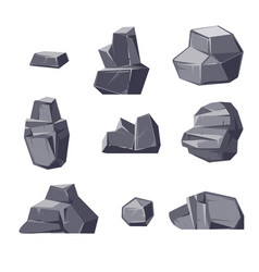 Set of different cartoon-style boulders isolated vector