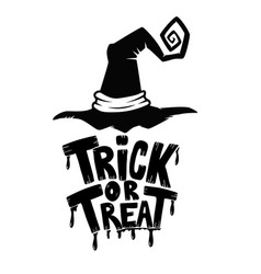 Trick or treat hand drawn lettering phrase with vector