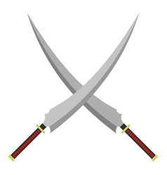 Two crossed japanese samurai swords icon isolated vector