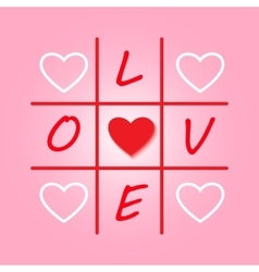 Valentines day original card with tic-tac-toe vector