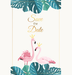 Wedding invitation flamingo couple monstera leaves vector