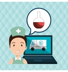 Woman nurse laptop health vector