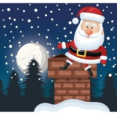 Santa sitting on chimney landscape night design vector