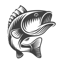 Monochrome fish bass logo vector