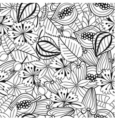 Black and white seamless pattern with flowers vector