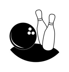 Monochrome silhouette with bowling pins and ball vector