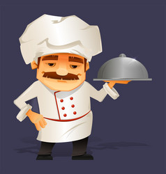 Chef cook serving food cute cartoon character vector