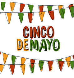 Cinco de mayo postcard holiday pennant bunting vector