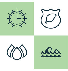 Eco-friendly icons set collection of guard tree vector