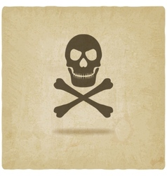 Skull and crossbones old background vector