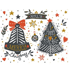 Hand drawn christmas and new year elements set vector