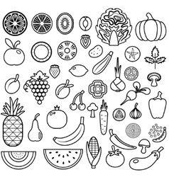 Set of fruits and vegetables food icon vector