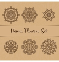 Henna flowers set vector
