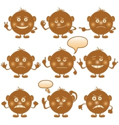 Smilies round set brown vector