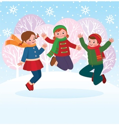 Group of children playing in the snow in the winte vector