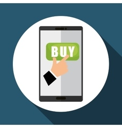 Buy online over white background mobile vector