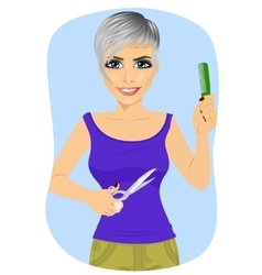 Female hairdresser with pair of scissors and comb vector