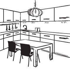 Modern kitchen room sketchy on white vector