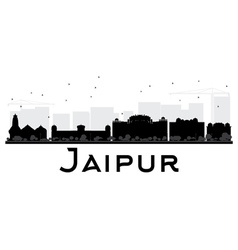 Jaipur city skyline black and white silhouette vector