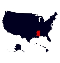 Mississippi state in the united states map vector
