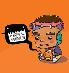 Cute halloween character card - frankenstein vector