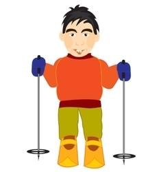 Athlete skier vector