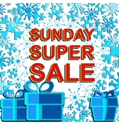 Big winter sale poster with sunday super sale text vector